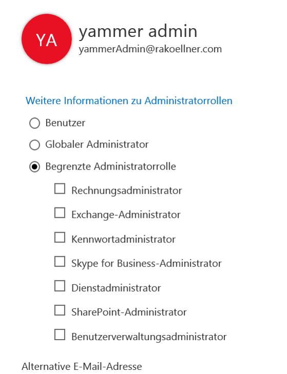 Adminrollen-auswahl
